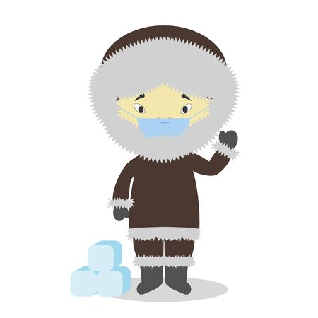Character from Greenland dressed in the traditional way and with surgical mask and latex gloves as protection against a health emergency