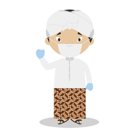 Character from Indonesia dressed in the traditional way and with surgical mask and latex gloves as protection against a health emergency