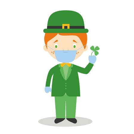 Character from Ireland dressed in the traditional way with a clover and with surgical mask and latex gloves as protection against a health emergency Vektoros illusztráció