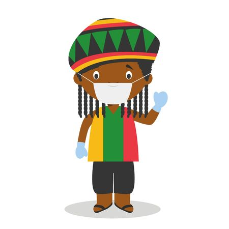 Character from Jamaica dressed in the traditional way with dreadlocks and with surgical mask and latex gloves as protection against a health emergency