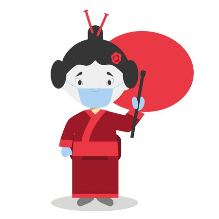 Character from Japan dressed in the traditional way and with surgical mask and latex gloves as protection against a health emergency