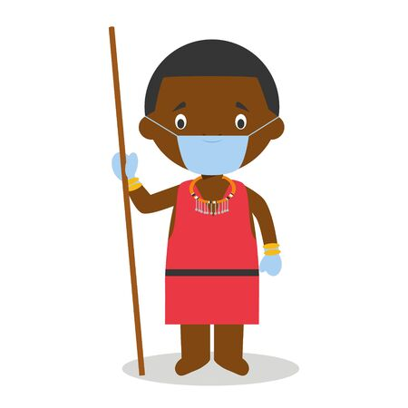 Character from Kenya dressed in the traditional way of the Masai tribe and with surgical mask and latex gloves as protection against a health emergency