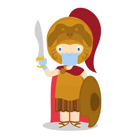 Alexander The Great cartoon character with surgical mask and latex gloves as protection against a health emergency