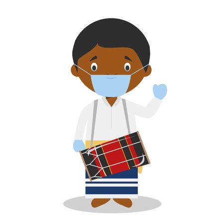 Character from Maldives dressed in the traditional way as a boduberu and with surgical mask and latex gloves as protection against a health emergency