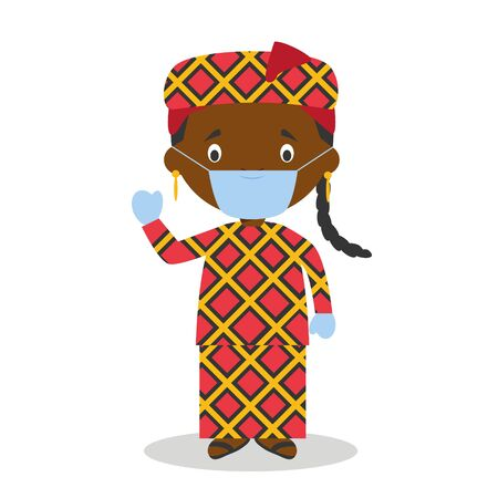 Character from Mali or Central Africa dressed in the traditional way and with surgical mask and latex gloves as protection against a health emergency 일러스트