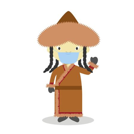 Character from Mongolia dressed in the traditional way and with surgical mask and latex gloves as protection against a health emergency 일러스트