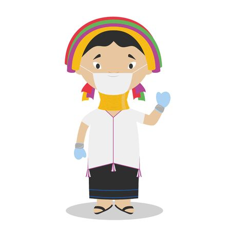 Padaung girl character from Myanmar (Kayan Tribe) dressed in the traditional way and with surgical mask and latex gloves as protection against a health emergency 일러스트