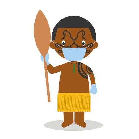 Character from New Zealand dressed in the traditional way of the Maori tribe and with surgical mask and latex gloves as protection against a health emergency