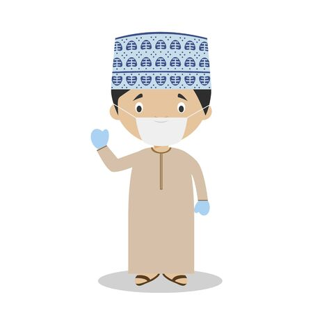 Character from Oman dressed in the traditional way and with surgical mask and latex gloves as protection against a health emergency 일러스트