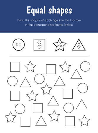 Equal shapes Educational Sheet. Primary module for Attention and Perception. 5-6 years old. Educational Sheets Series 일러스트