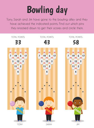 Bowling day Educational Sheet. Primary module for Numerical Ability. 5-6 years old. Educational Sheets Series Ilustração