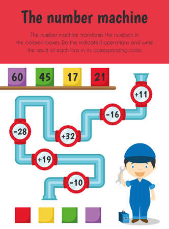Number machine Educational Sheet. Primary module for Numerical Ability. 5-6 years old. Educational Sheets Series