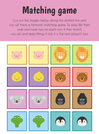 Matching game Educational Sheet. Primary module for Memory. 5-6 years old. Educational Sheets Series