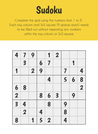 Sudoku Educational Sheet. Primary module for Numerical Ability. 5-6 years old. Educational Sheets Series