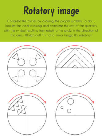 Rotatory image Educational Sheet. Primary module for Spacial Understanding. 5-6 years old. Educational Sheets Series