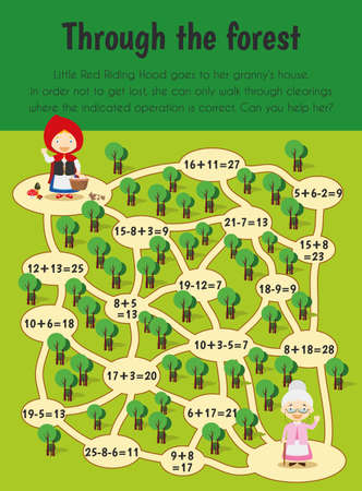 Through the forest Educational Sheet. Primary module for Numerical Ability. 5-6 years old. Educational Sheets Series Ilustração