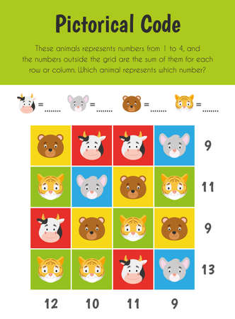 Pictorical code Educational Sheet. Primary module for Numerical Ability. 5-6 years old. Educational Sheets Series Illusztráció