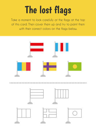 The lost flag Educational Sheet. Primary module for Memory. 5-6 years old. Educational Sheets Series Illusztráció