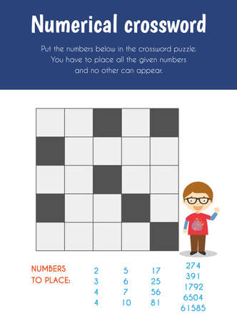 Numerical crossword Educational Sheet. Primary module for Logic Reasoning. 5-6 years old. Educational Sheets Series