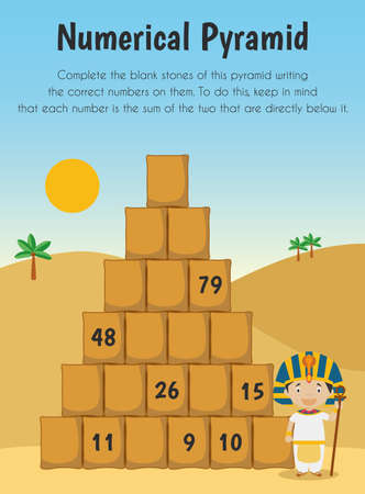 Numerical pyramid Educational Sheet. Primary module for Numerical Ability. 5-6 years old. Educational Sheets Series
