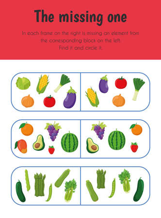 The missing one Educational Sheet. Primary module for Attention and Perception. 5-6 years old. Educational Sheets Series 일러스트