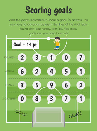 Scoring goals Educational Sheet. Primary module for Numerical Ability. 5-6 years old. Educational Sheets Series