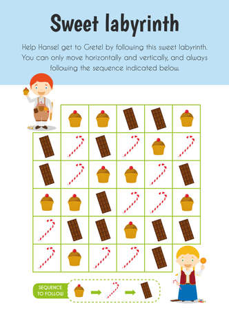 Sweet labyrinth Educational Sheet. Primary module for Attention and Perception. 5-6 years old. Educational Sheets Series