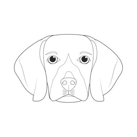 Beagle dog easy coloring cartoon vector illustration. Isolated on white background