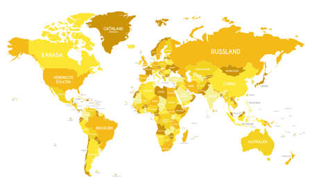 Political World Map vector illustration with different tones of yellow for each country and country names in german. Editable and clearly labeled layers. Ilustracje wektorowe