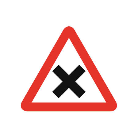 Triangular traffic signal in white and red, isolated on white background. Warning of crossroad ahead with priority on the right