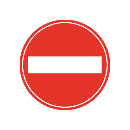 Rounded traffic signal in red and white, isolated on white background. Entry prohibited