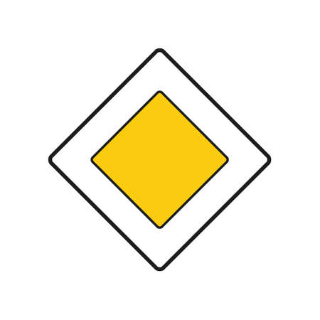 Rhomboid traffic signal in white and yellow, isolated on white background. Priority road Vetores
