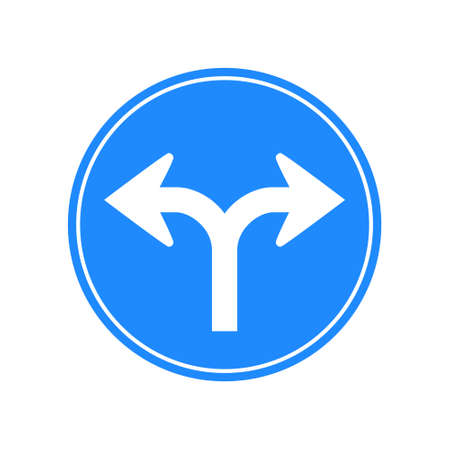 Rounded traffic signal in blue and white, isolated on white background. Compulsory turn right or left Vetores
