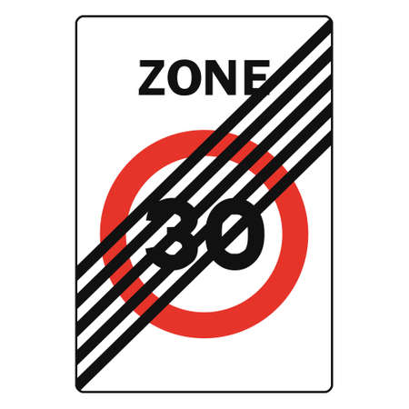 Rectangular traffic signal in white and red, isolated on white background. End of pedestrian priority zone with maximum speed for vehicles