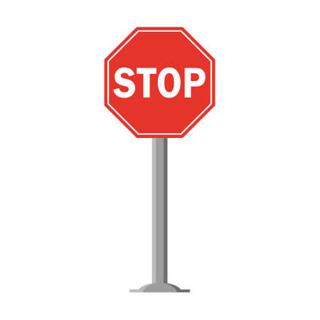 Octagonal traffic signal in red with text on white, with stick and isolated on white background. Mandatory Stop. Text in english