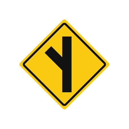Rhomboid traffic signal in yellow and black, isolated on white background. Warning of side road on the left at a acute angle Çizim