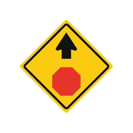 Rhomboid traffic signal in yellow and black, isolated on white background. Warning of stop ahead Vetores