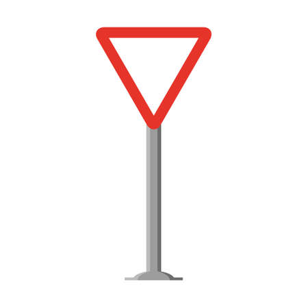 Triangular traffic signal in white and red, with stick and isolated on white background. Mandatory Give way.