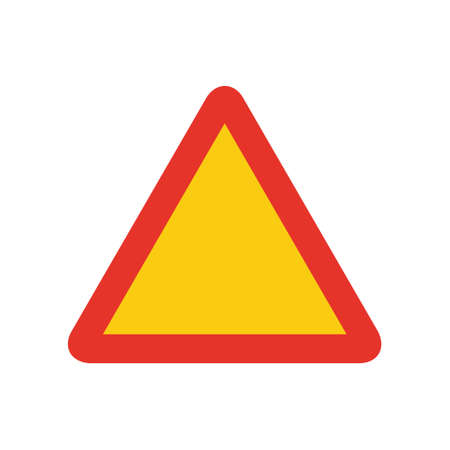 Triangular traffic signal in yellow and red, isolated on white background. Temporary warning signal