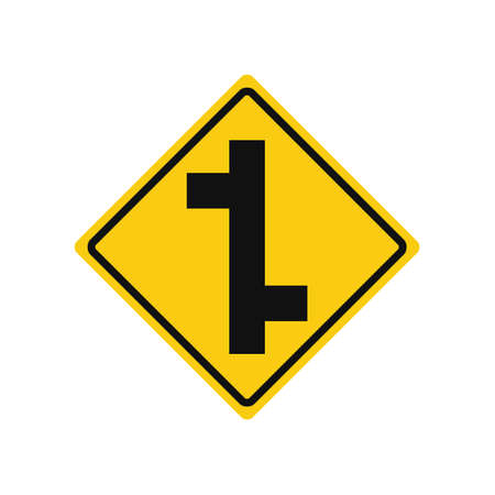 Rhomboid traffic signal in yellow and black, isolated on white background. Warning of side roads on right and left, consecutively