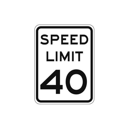 Rectangular traffic signal with white background and text in black, isolated on white background. Speed limit to forty Vetores