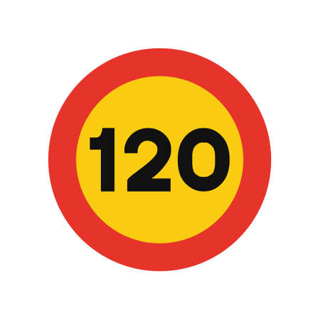 Rounded traffic signal in yellow and red, isolated on white background. Temporary speed limit of one hundred and twenty Ilustrace