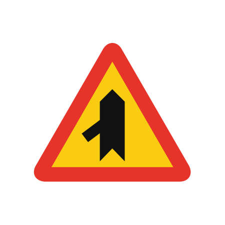 Triangular traffic signal in yellow and red, isolated on white background. Temporary warning of sharp junction on the left Ilustrace