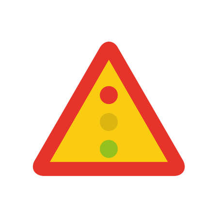Triangular traffic signal in yellow and red, isolated on white background. Temporary warning of traffic lights ahead Ilustrace