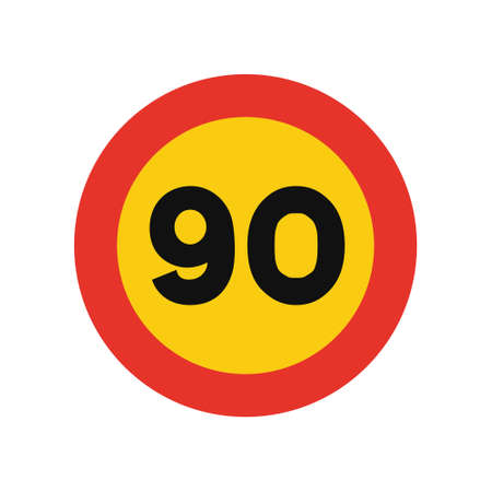 Rounded traffic signal in yellow and red, isolated on white background. Temporary speed limit of ninety Vector Illustration