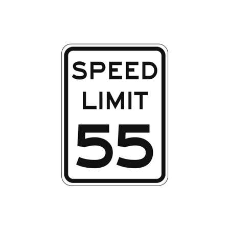 Rectangular traffic signal with white background and text in black, isolated on white background. Speed limit to fifty five