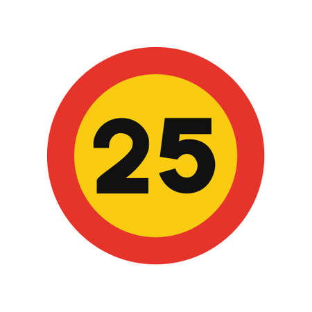 Rounded traffic signal in yellow and red, isolated on white background. Temporary speed limit of twenty five