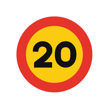 Rounded traffic signal in yellow and red, isolated on white background. Temporary speed limit of twenty