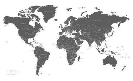 World map gray and white with cities and countries Vector illustration