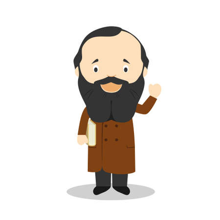 Fyodor Dostoevsky cartoon character. Vector Illustration. Kids History Collection.